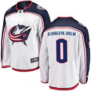 Ole Bjorgvik-Holm Columbus Blue Jackets Men's Fanatics Branded White Breakaway Away Jersey