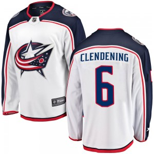 Adam Clendening Columbus Blue Jackets Men's Fanatics Branded White Breakaway Away Jersey