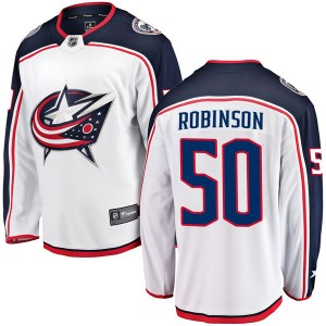 Eric Robinson Columbus Blue Jackets Men's Fanatics Branded White Breakaway Away Jersey