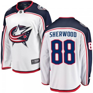 Kole Sherwood Columbus Blue Jackets Men's Fanatics Branded White Breakaway Away Jersey