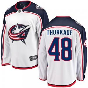 Calvin Thurkauf Columbus Blue Jackets Men's Fanatics Branded White Breakaway Away Jersey