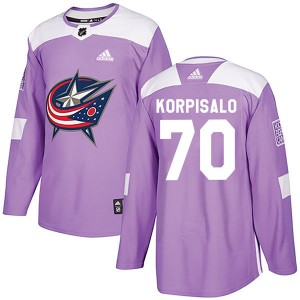 Joonas Korpisalo Columbus Blue Jackets Youth Adidas Authentic Purple Fights Cancer Practice Jersey