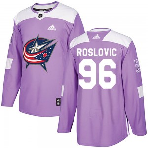 Jack Roslovic Columbus Blue Jackets Youth Adidas Authentic Purple Fights Cancer Practice Jersey