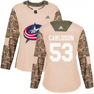 Gabriel Carlsson Columbus Blue Jackets Women's Adidas Authentic Camo Veterans Day Practice Jersey