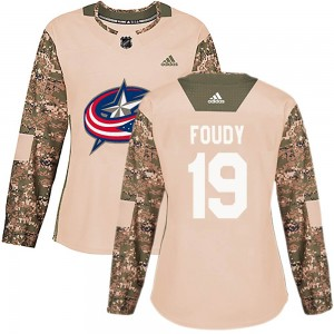Liam Foudy Columbus Blue Jackets Women's Adidas Authentic Camo ized Veterans Day Practice Jersey