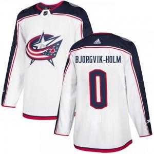 Ole Bjorgvik-Holm Columbus Blue Jackets Men's Adidas Authentic White Away Jersey