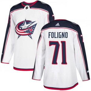 Nick Foligno Columbus Blue Jackets Men's Adidas Authentic White Away Jersey