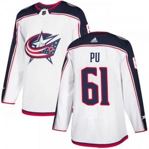 Cliff Pu Columbus Blue Jackets Men's Adidas Authentic White Away Jersey