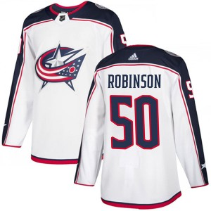 Eric Robinson Columbus Blue Jackets Men's Adidas Authentic White Away Jersey