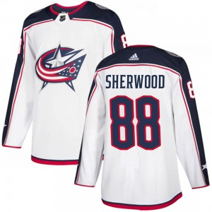 Kole Sherwood Columbus Blue Jackets Men's Adidas Authentic White Away Jersey