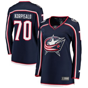 Joonas Korpisalo Columbus Blue Jackets Women's Fanatics Branded Navy Breakaway Home Jersey