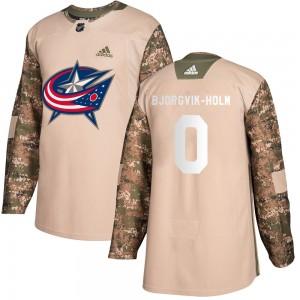 Ole Bjorgvik-Holm Columbus Blue Jackets Men's Adidas Authentic Camo Veterans Day Practice Jersey