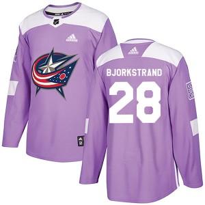 Oliver Bjorkstrand Columbus Blue Jackets Men's Adidas Authentic Purple Fights Cancer Practice Jersey