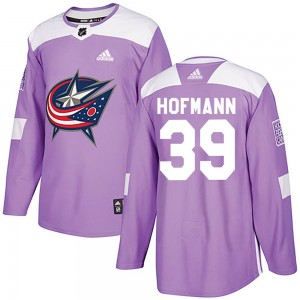 Gregory Hofmann Columbus Blue Jackets Men's Adidas Authentic Purple Fights Cancer Practice Jersey
