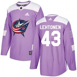 Mikko Lehtonen Columbus Blue Jackets Men's Adidas Authentic Purple Fights Cancer Practice Jersey
