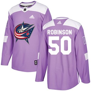 Eric Robinson Columbus Blue Jackets Men's Adidas Authentic Purple Fights Cancer Practice Jersey