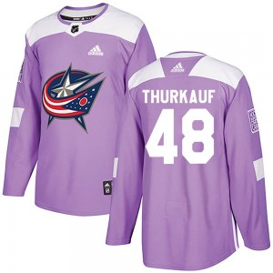 Calvin Thurkauf Columbus Blue Jackets Men's Adidas Authentic Purple Fights Cancer Practice Jersey