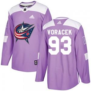 Jakub Voracek Columbus Blue Jackets Men's Adidas Authentic Purple Fights Cancer Practice Jersey