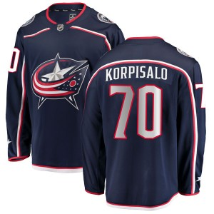 Joonas Korpisalo Columbus Blue Jackets Men's Fanatics Branded Navy Breakaway Home Jersey