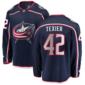 Alexandre Texier Columbus Blue Jackets Men's Fanatics Branded Navy Breakaway Home Jersey