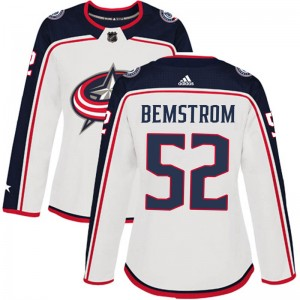 Emil Bemstrom Columbus Blue Jackets Women's Adidas Authentic White Away Jersey