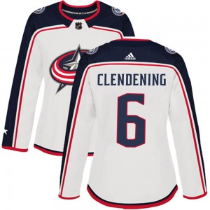 Adam Clendening Columbus Blue Jackets Women's Adidas Authentic White Away Jersey