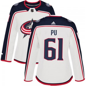 Cliff Pu Columbus Blue Jackets Women's Adidas Authentic White Away Jersey