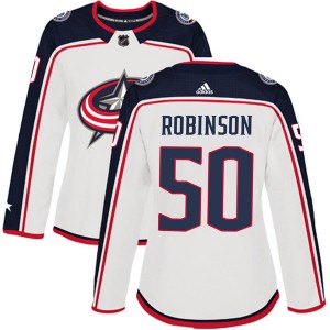 Eric Robinson Columbus Blue Jackets Women's Adidas Authentic White Away Jersey