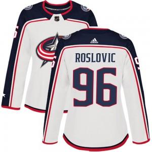 Jack Roslovic Columbus Blue Jackets Women's Adidas Authentic White Away Jersey