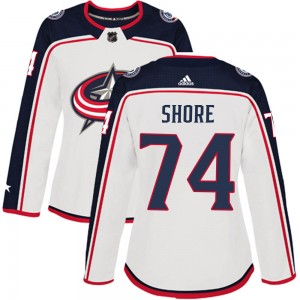 Devin Shore Columbus Blue Jackets Women's Adidas Authentic White ized Away Jersey