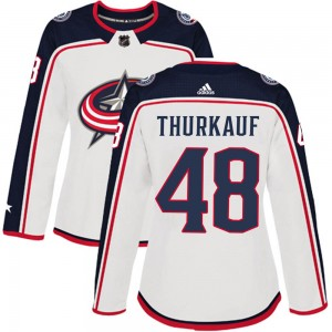 Calvin Thurkauf Columbus Blue Jackets Women's Adidas Authentic White Away Jersey