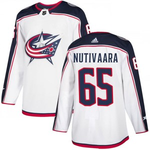 Markus Nutivaara Columbus Blue Jackets Youth Adidas Authentic White Away Jersey