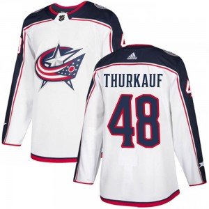Calvin Thurkauf Columbus Blue Jackets Youth Adidas Authentic White Away Jersey