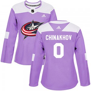 Yegor Chinakhov Columbus Blue Jackets Women's Adidas Authentic Purple Fights Cancer Practice Jersey