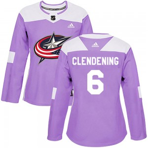 Adam Clendening Columbus Blue Jackets Women's Adidas Authentic Purple Fights Cancer Practice Jersey