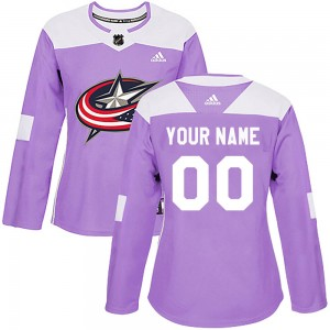 Women's Adidas Columbus Blue Jackets Customized Authentic Purple Fights Cancer Practice Jersey