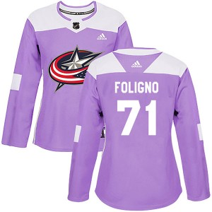 Nick Foligno Columbus Blue Jackets Women's Adidas Authentic Purple Fights Cancer Practice Jersey