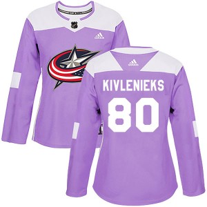 Matiss Kivlenieks Columbus Blue Jackets Women's Adidas Authentic Purple Fights Cancer Practice Jersey