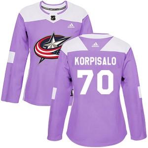 Joonas Korpisalo Columbus Blue Jackets Women's Adidas Authentic Purple Fights Cancer Practice Jersey