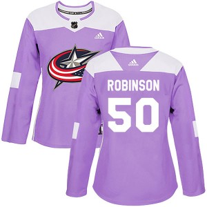 Eric Robinson Columbus Blue Jackets Women's Adidas Authentic Purple Fights Cancer Practice Jersey