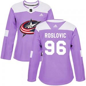 Jack Roslovic Columbus Blue Jackets Women's Adidas Authentic Purple Fights Cancer Practice Jersey