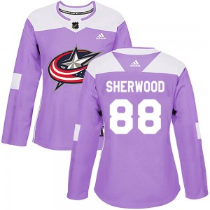 Kole Sherwood Columbus Blue Jackets Women's Adidas Authentic Purple Fights Cancer Practice Jersey