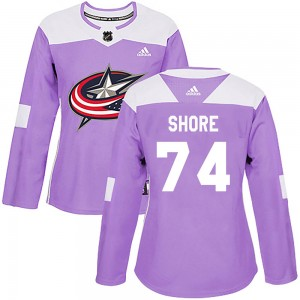 Devin Shore Columbus Blue Jackets Women's Adidas Authentic Purple ized Fights Cancer Practice Jersey