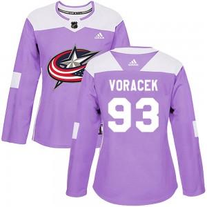 Jakub Voracek Columbus Blue Jackets Women's Adidas Authentic Purple Fights Cancer Practice Jersey