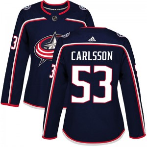 Gabriel Carlsson Columbus Blue Jackets Women's Adidas Authentic Navy Home Jersey