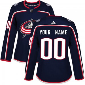 Women's Adidas Columbus Blue Jackets Customized Authentic Navy Home Jersey