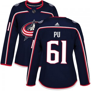 Cliff Pu Columbus Blue Jackets Women's Adidas Authentic Navy Home Jersey