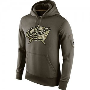 Columbus Blue Jackets Men's Nike Olive Salute To Service KO Performance Hoodie