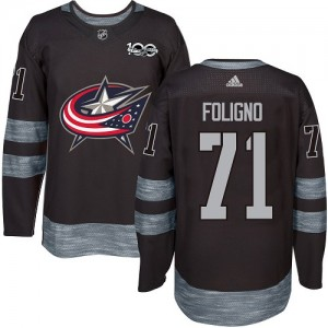 Nick Foligno Columbus Blue Jackets Men's Adidas Authentic Black 1917-2017 100th Anniversary Jersey