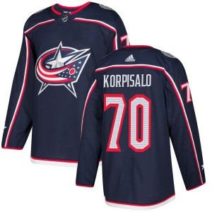 Joonas Korpisalo Columbus Blue Jackets Men's Adidas Authentic Navy Jersey